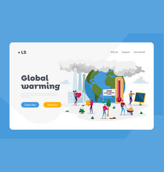 Global warming landing page template characters vector