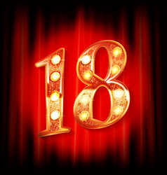 gold numbers 18 greeting card vector image