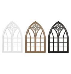 Gothic window wood set vector