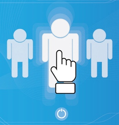 Hand icon pushing human button vector