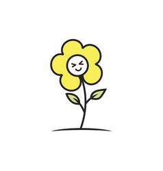 happy flower logo vector image