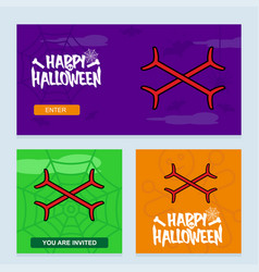 happy halloween invitation design with bones vector image