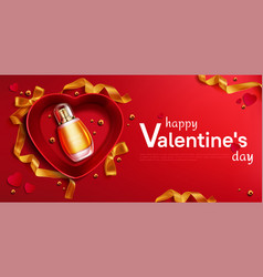 heart shapedred open gift box with perfume bottle vector image