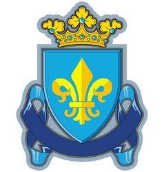 heraldic shield ribbons crown and sword vector image
