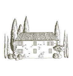 houses tuscany vector image