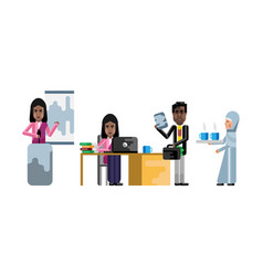 indian and african business staff in office vector image