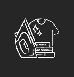 Ironing chalk white icon on black background vector