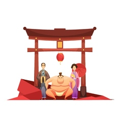 Japanese culture retro composition with pagoda vector