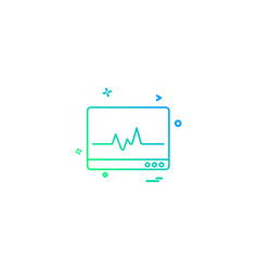 lcd heart rate monitoring icon desige vector image