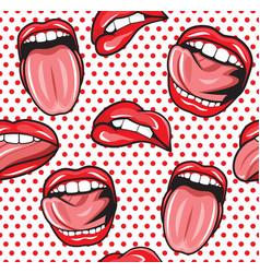 Lips pop art seamless pattern1 vector image