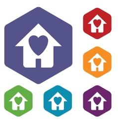 Love house rhombus icons vector image
