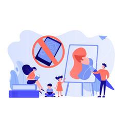Low tech parenting concept vector