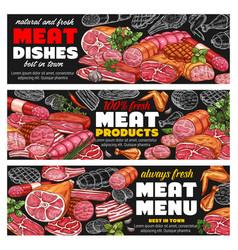 meat sausages ham bacon salami menu blackboard vector image