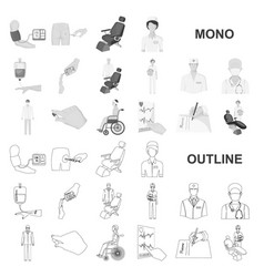 Medicine and treatment monochrom icons in set vector