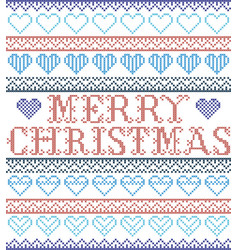 merry christmas nordic style with hearts vector image