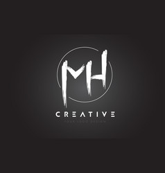 mh brush letter logo design artistic handwritten vector image