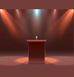 Microphone on black scene podium report vector