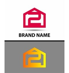 Number 2 logo logotype design vector image