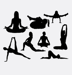 People yoga and acrobat sport silhouette vector