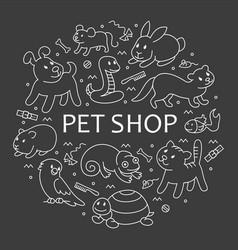 pet shop in circle template vector image