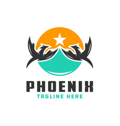 phoenix bird shield logo vector image