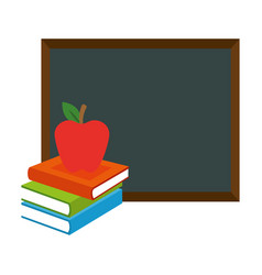 pile text books with chalkboard and apple vector image