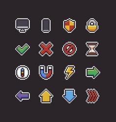 Pixel art ui icons vector