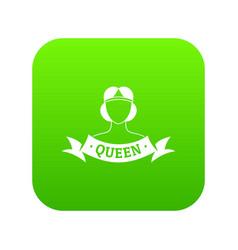 queen icon green vector image