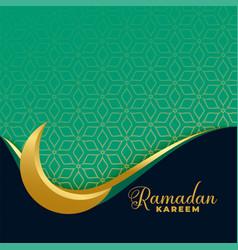 Ramadan kareem golden moon islamic banner vector