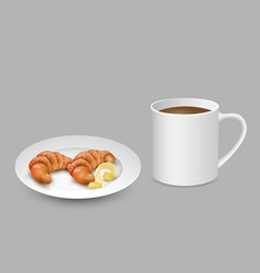 realistic set with white cup of coffee croissant vector image