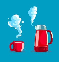 Red cup with hot tea or coffee vector