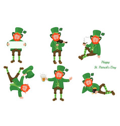 Set leprechauns isolated on a white background vector