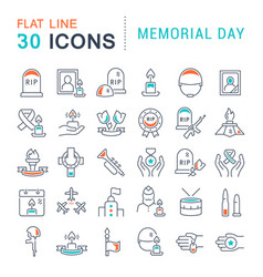 set line icons memorial day vector image