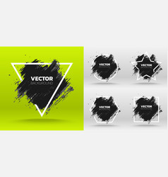 set of black grunge abstract background template vector image