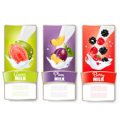 set of three labels of fruit in milk splashes vector image