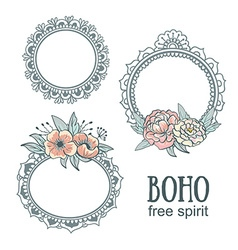 set ornamental boho style frames with flowers vector image