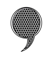 Silhouette circular speech with metal grid of vector