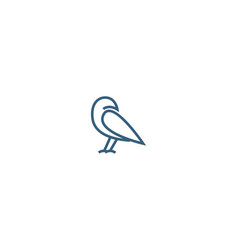 simple crow logo design abstract line art crow vector image
