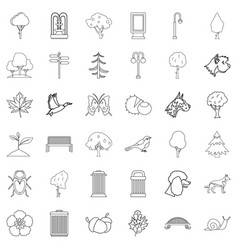 Square icons set outline style vector