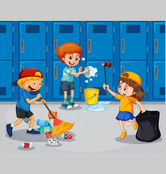student cleaning the hallway vector image