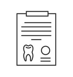 teeth diagnostic report linear icon vector image