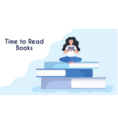 tiny woman reading book sitting on stack giant vector image