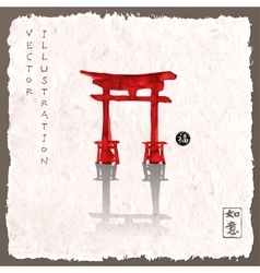 Torii gates hand-drawn with ink vector image