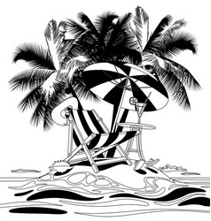 tropical island with beach chair under palms vector image