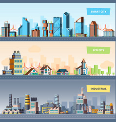 urban landscape industrial smart and eco city vector image