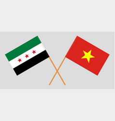Vietnam and syria opposition flags vector