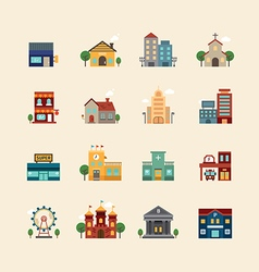 web flat icons set - buildings collection vector image