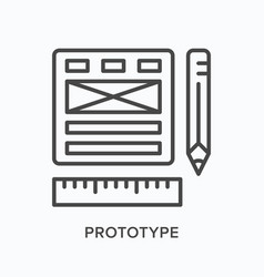 website prototype flat line icon outline vector image