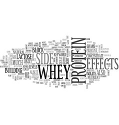 Whey protein side effects text word cloud concept vector