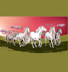 White horses running free vector